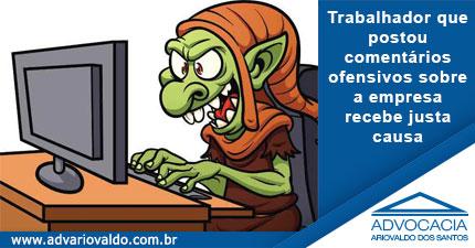 TRT confirma justa causa de trabalhador que postou comentários ofensivos na página da empregadora no Facebook